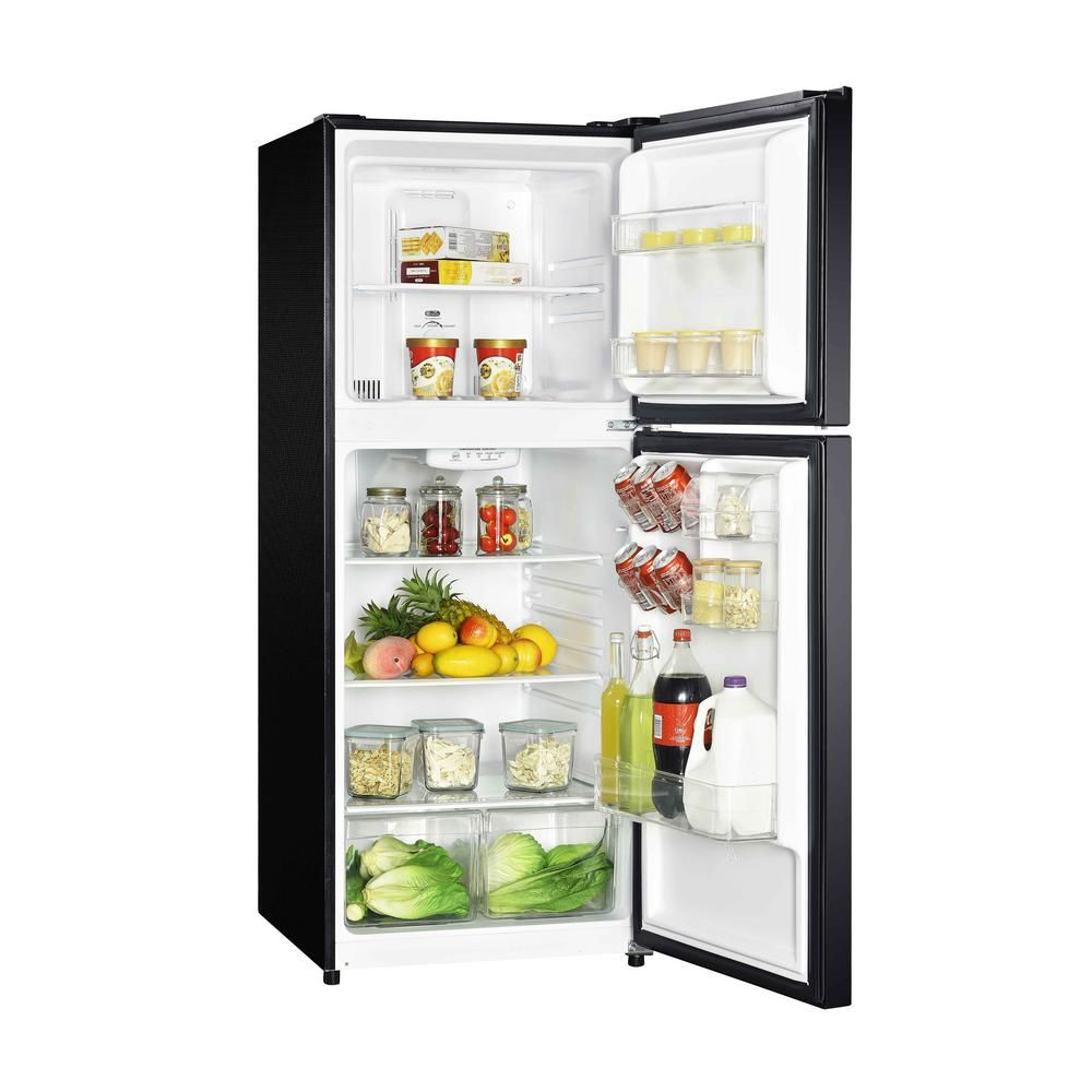 Magic Chef 10 1 Cu Ft Top Freezer Refrigerator In Black Hmdr1000be The Home Depot Refrigerator Small Refrigerator Black Fridges