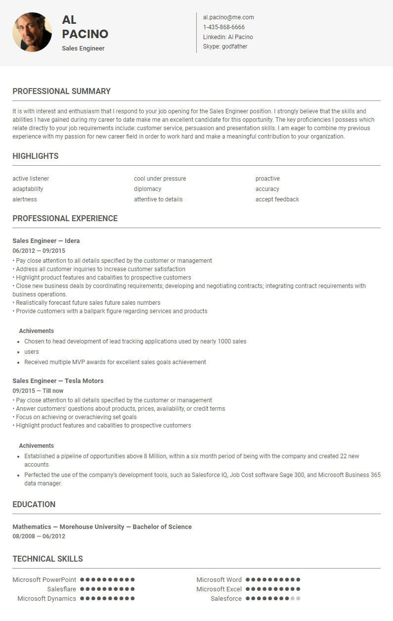 Sales Engineer Resume Template Sample Conducted By Skillroads Https Skillroads Com Sample Sales Engineer Cv Resume Sample Job Opening Resume Template