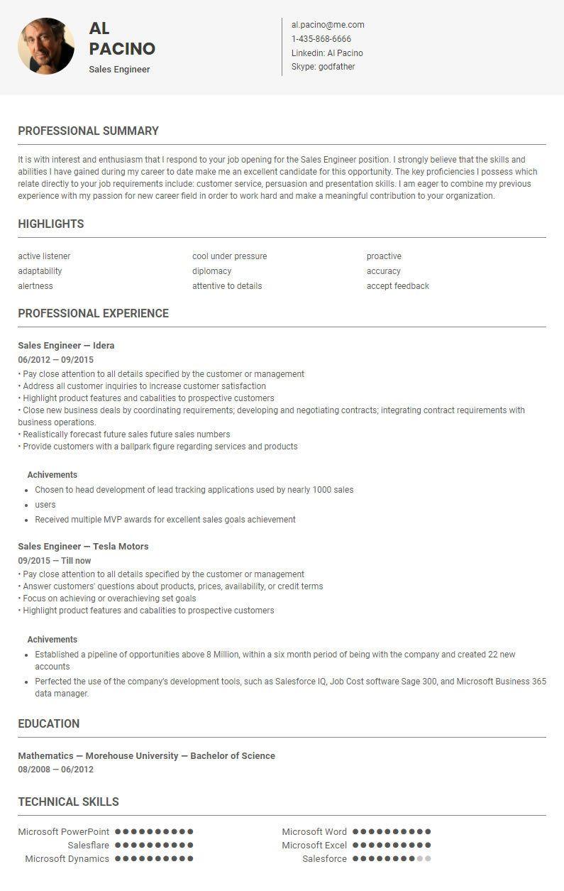 Sales Engineer Resume Sales Engineer Resume Template Sample Conductedskillroads