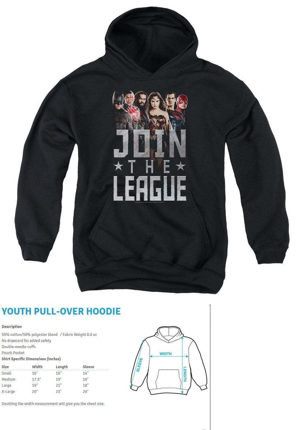 sweatshirts and hoodies 155200: justice league movie join kids