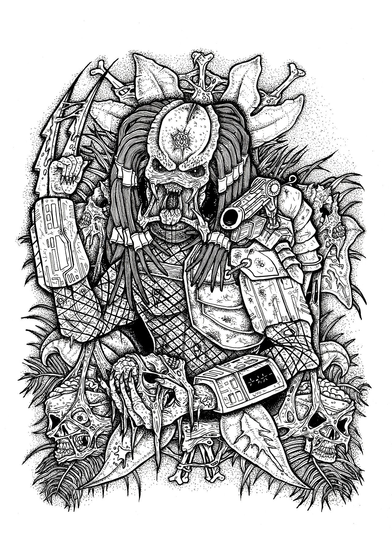 Pin by russell on yautja predator alien coloring books