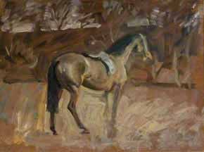 A Bay Horse in a Landscape by Alfred James Munnings