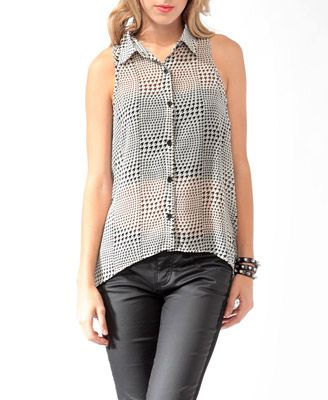 High-Low Houndstooth Print Shirt from Forever21.com