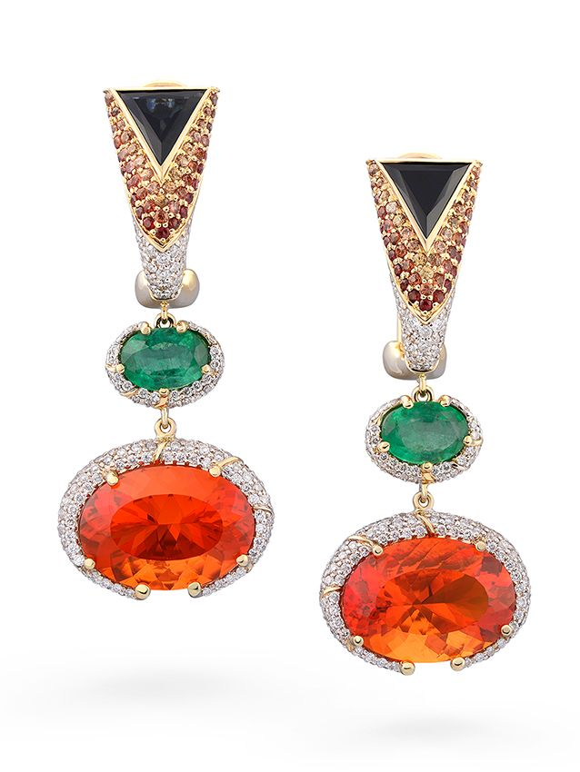 Olapa Earrings By Votive Mexican Fire Opal Blue And Red Shires Emeralds White Diamonds 18k Yellow Gold