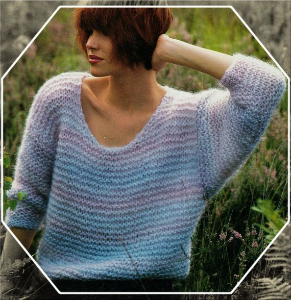 de0a64c71b52 Instant PDF Download Vintage Row by Row Knitting Pattern to make Easy  Beginner s Ladies Chunky Oversized Baggy Sweater Pullover Bust 30-44