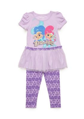 Nickelodeon   2-Piece Shimmer and Shine Tunic and Printed Legging Set Toddler Girls