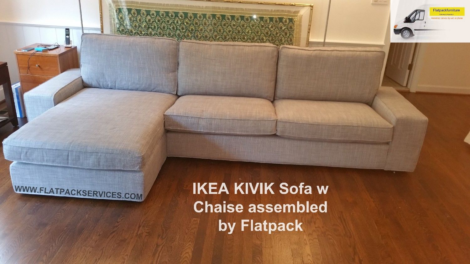 IKEA KIVIK Sofa w chaise assembled in McLean VA by Flatpack Assembly Service NW DC : kivik chaise assembly - Sectionals, Sofas & Couches