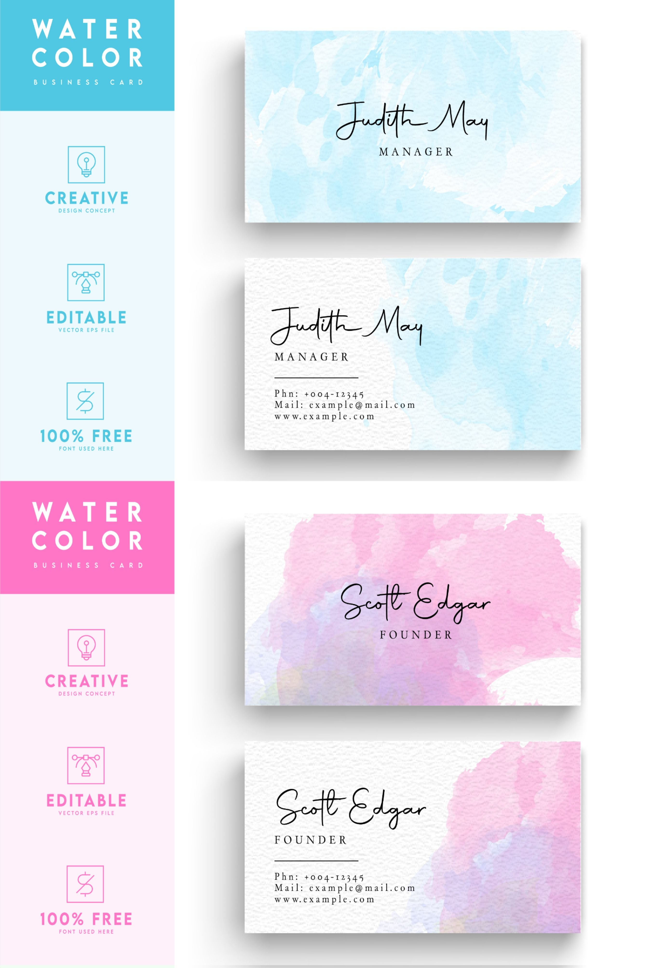 Water Color Business Card Template Pink Water Color Design In 2020 Watercolor Business Cards Artist Business Cards Business Card Design