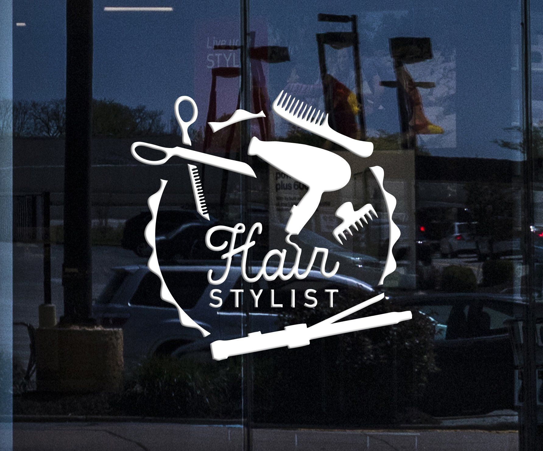 Window Signboard And Vinyl Wall Decal Hair Stylist Barber Tools
