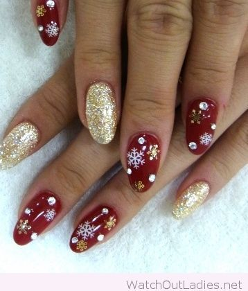 60 Stylish Red and Gold Nail Designs for Christmas Holiday