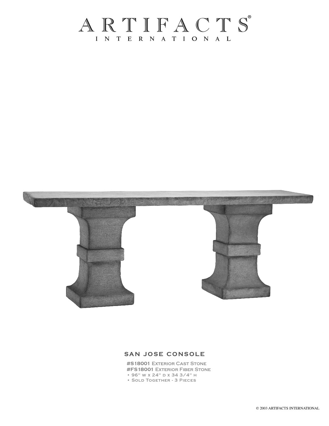 Artifacts International Cast Stone Fiberstone Console Tables Garden Bench Table