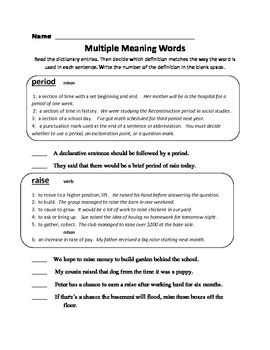 19+ Comfortable multiple meaning words worksheets 3rd grade Useful