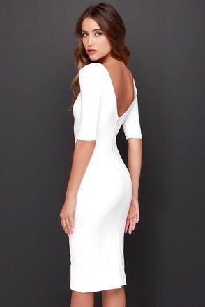 bd9034d53 Cute Ivory Dress - Midi Dress - Bodycon Dress - Cocktail Dress - $44.00