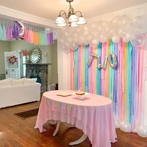Streamer Backdrop, Fringe Backdrop, Rainbow Party, Pastel Rainbow Birthday, Birthday Party