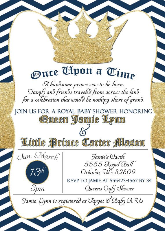 Lovely Royal Baby Shower Invitation   Little Prince Baby Shower Invitation