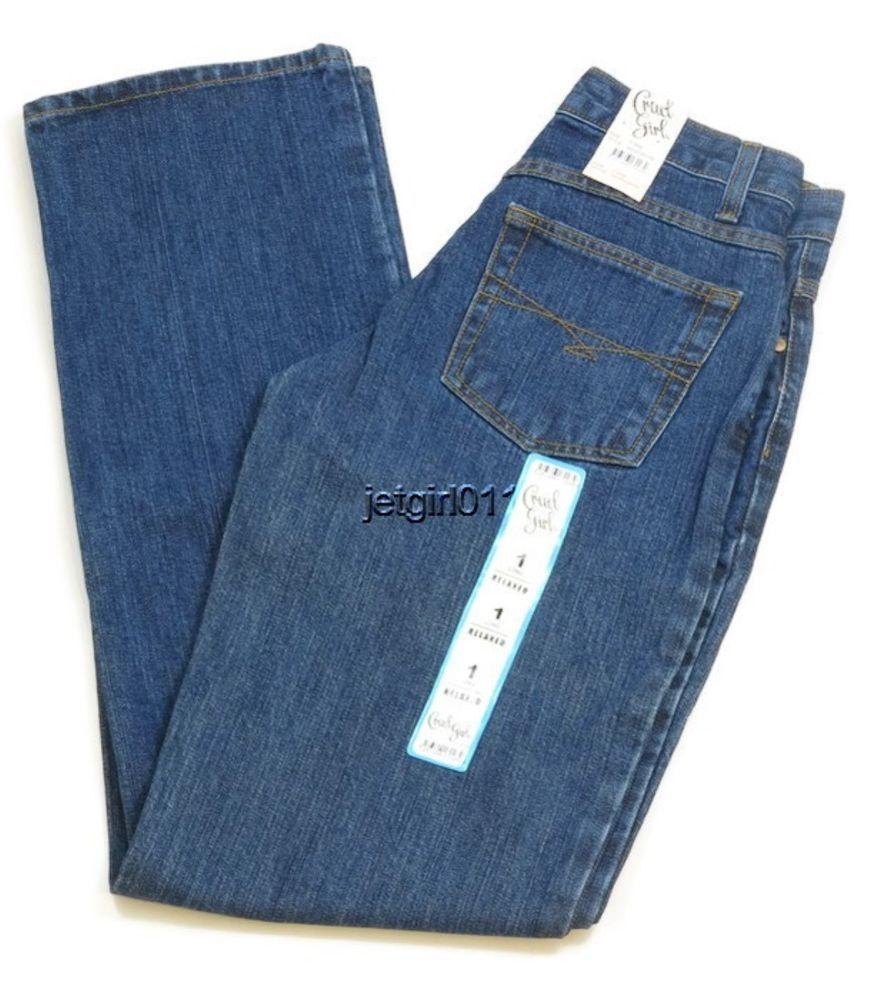Womens Cruel Girl Jeans Teen Junior 1 Long Relaxed Fit Western Denim 29 x 34 New #CruelGirl #Relaxed