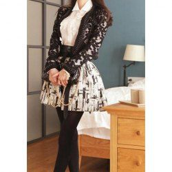 $9.40 Vintage Abstract Jacquard Pattern Flouncing Skirt For Women