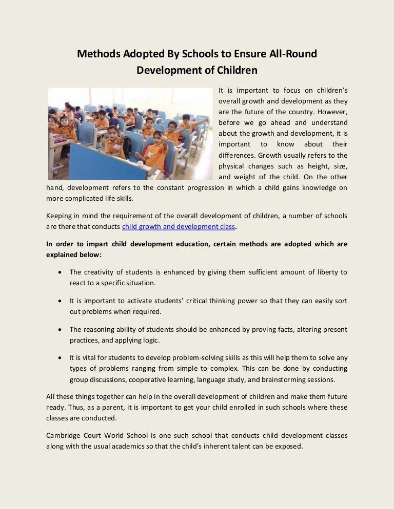 Cambridge Court World School Conduct Child Growth And Development