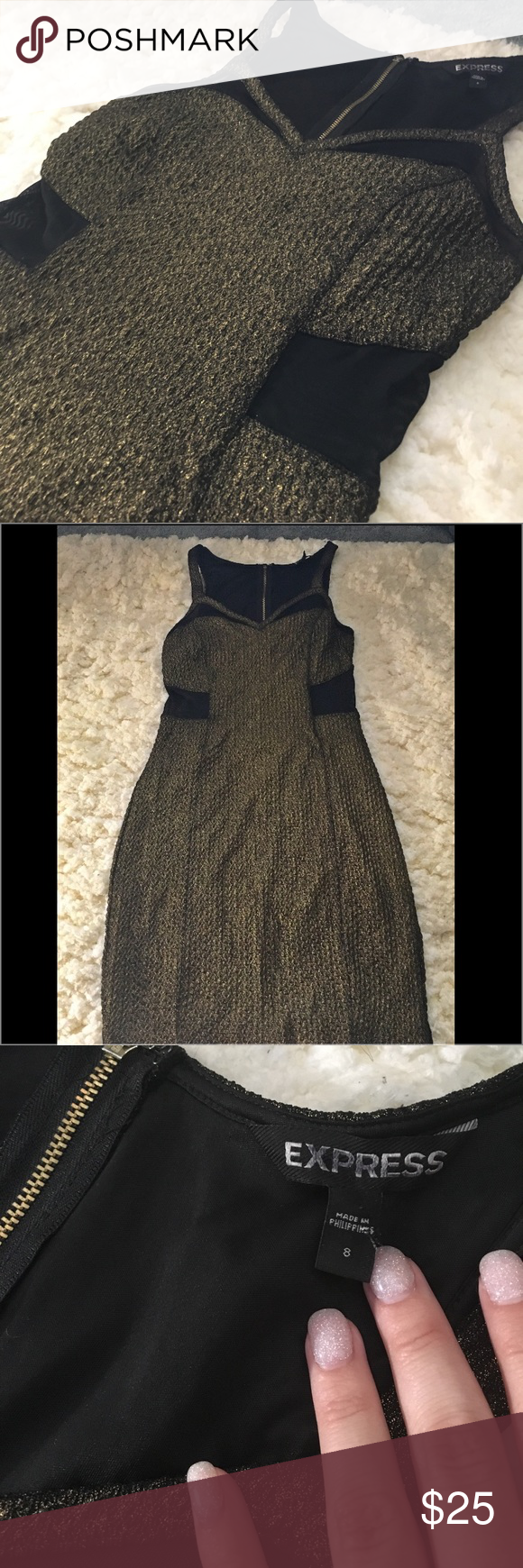 Express Black & Gold Mesh Bodycon Dress Beautiful dress! Great condition. Super Cute for a girls night out or dress it up with tights and a cardigan. Gold zipper down back Express Dresses