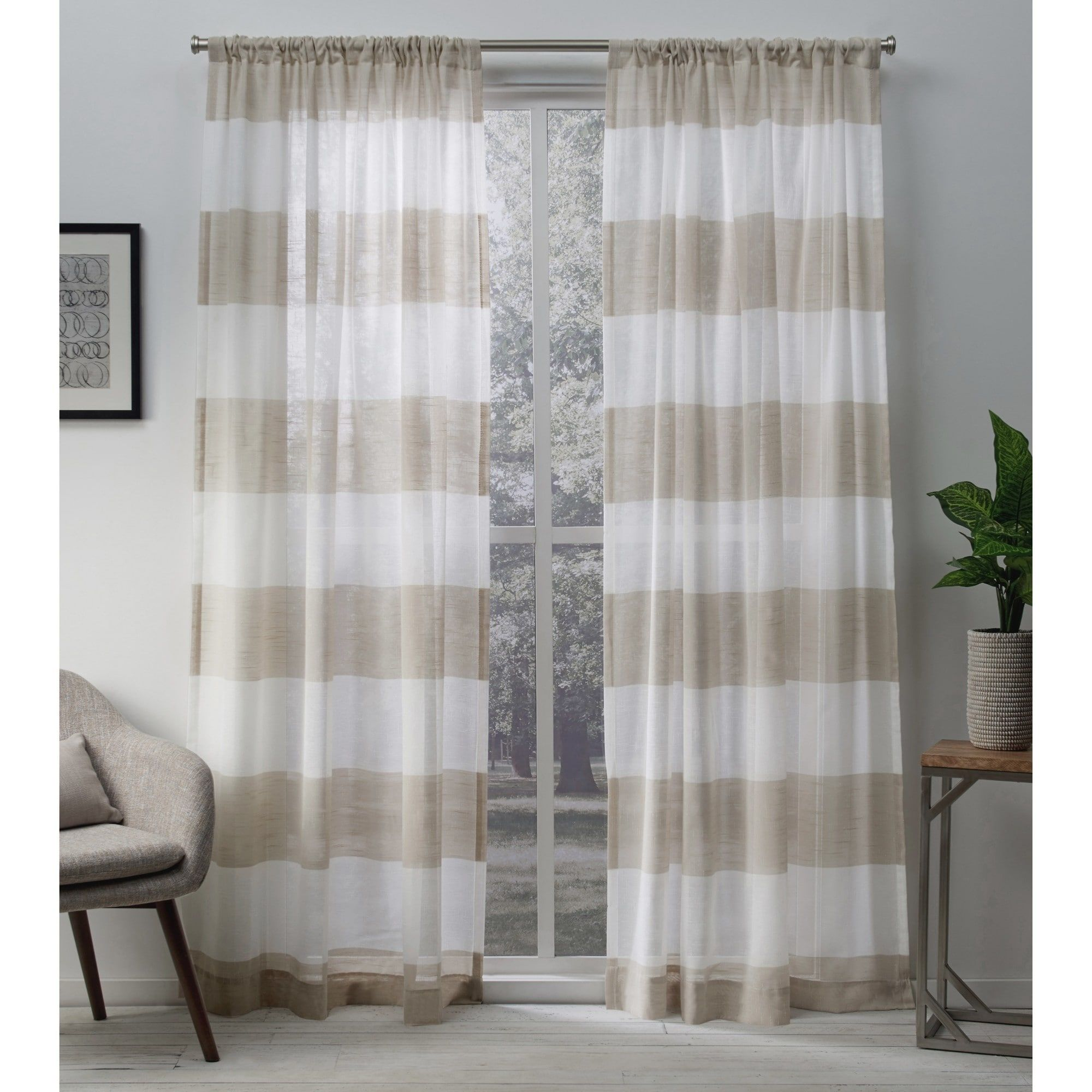 Ati Home Darma Sheer Linen Curtain Panel Pair With Rod