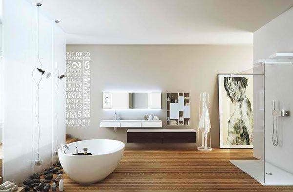 badezimmer freistehende badewanne dusche wandgestaltung holzboden ...