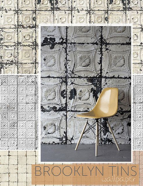 Wallpaper That Looks Like Old Tin I Would Put It On The Ceiling Greatwalls Brooklyn Tin Tiles Tile Wallpaper Tin Tiles