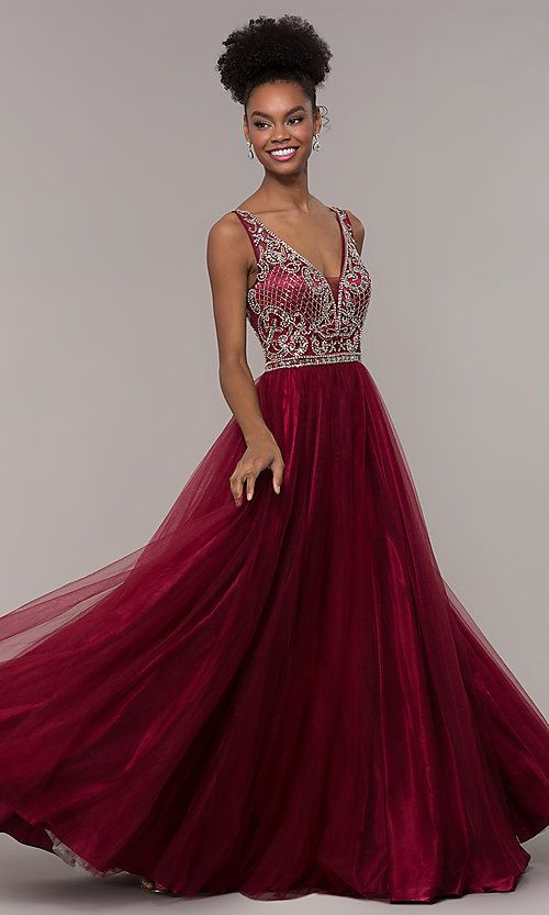 b8d7c6bf1c79 Long Tulle Beaded Bodice Prom Dress in 2019