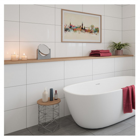 Flat Gloss White Ceramic Wall Tile 300 X 600mm In 2020 White Wall Tiles Ceramic Wall Tiles Wall Tiles
