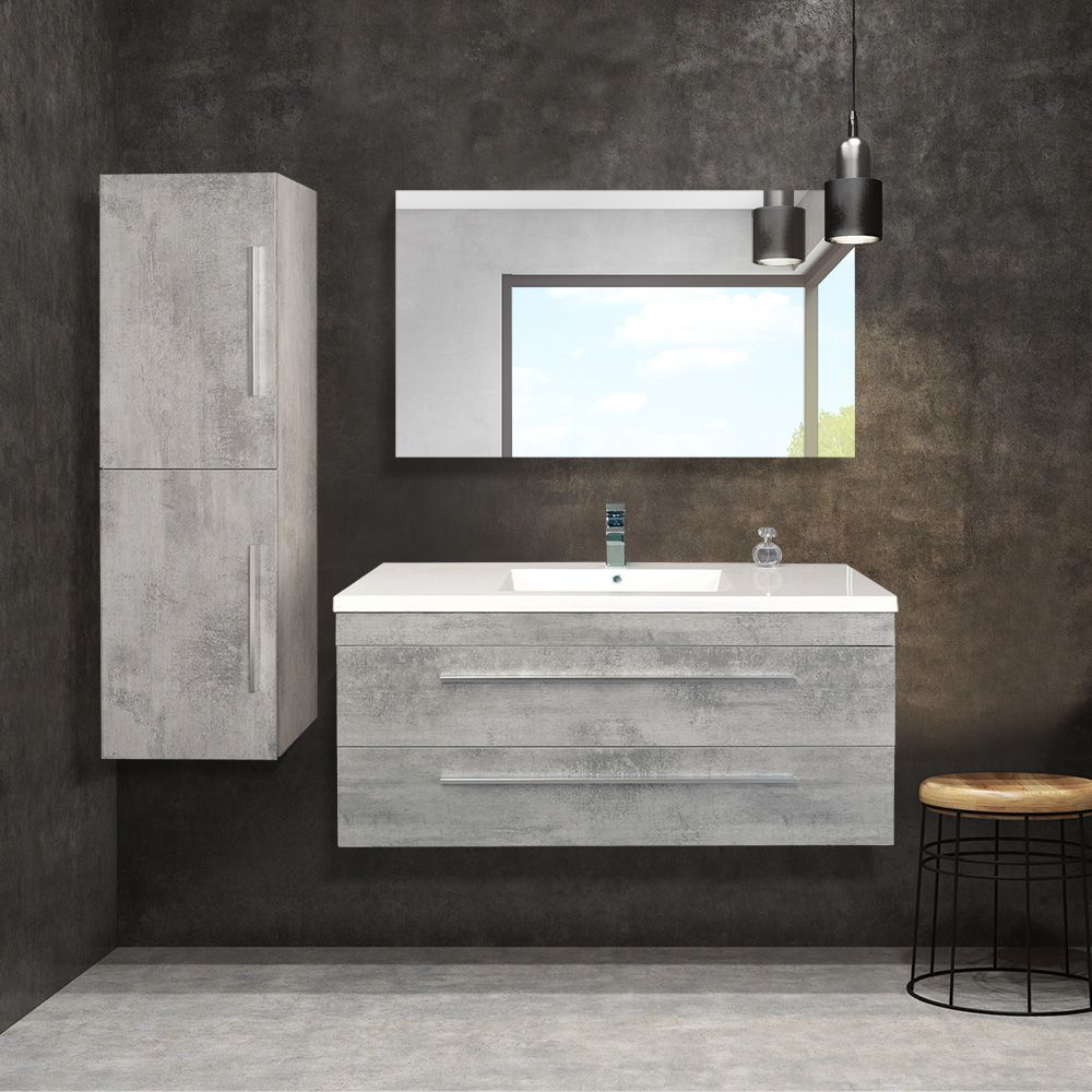 Combo 48 Cement Finish Wall Mount Vanity Set With Polymarble Top