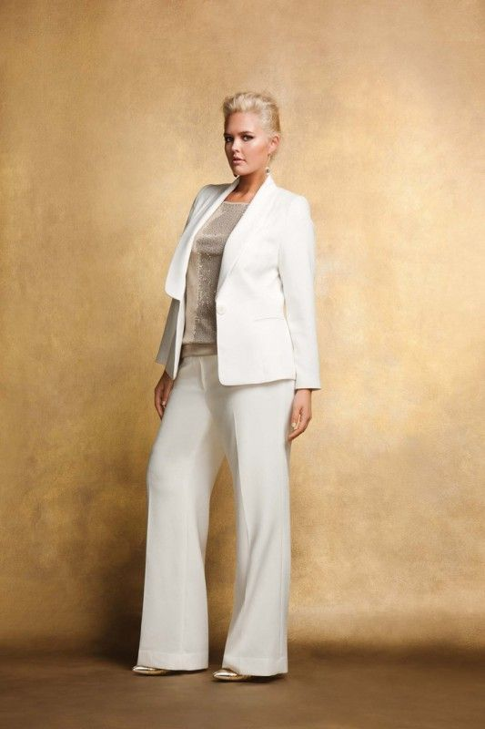 Plus Size Mother Of The Bride Pant Suits | Business attire, Curvy ...