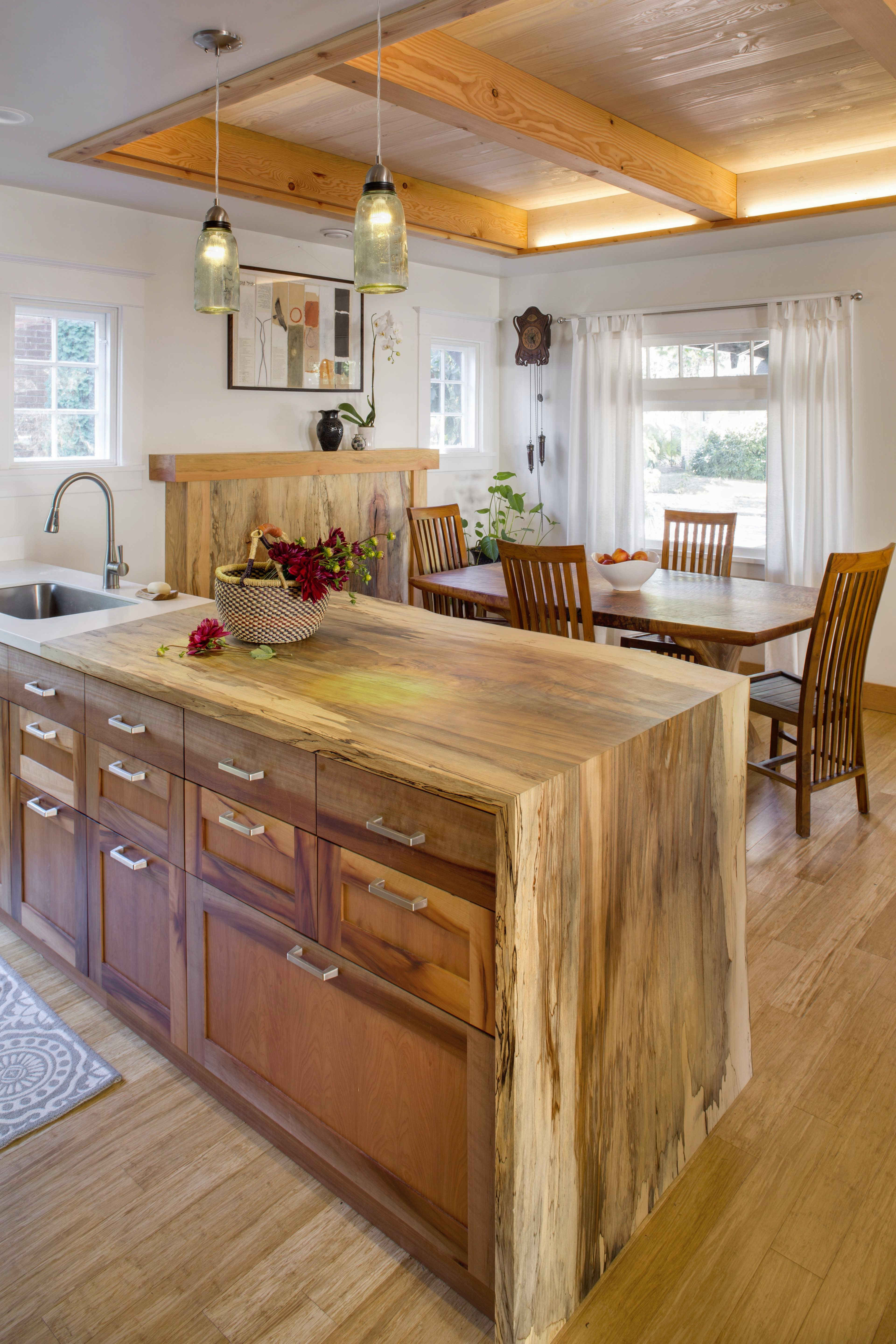 Life Edge Salvaged Wood Slab Countertop Custom Cabinetry And