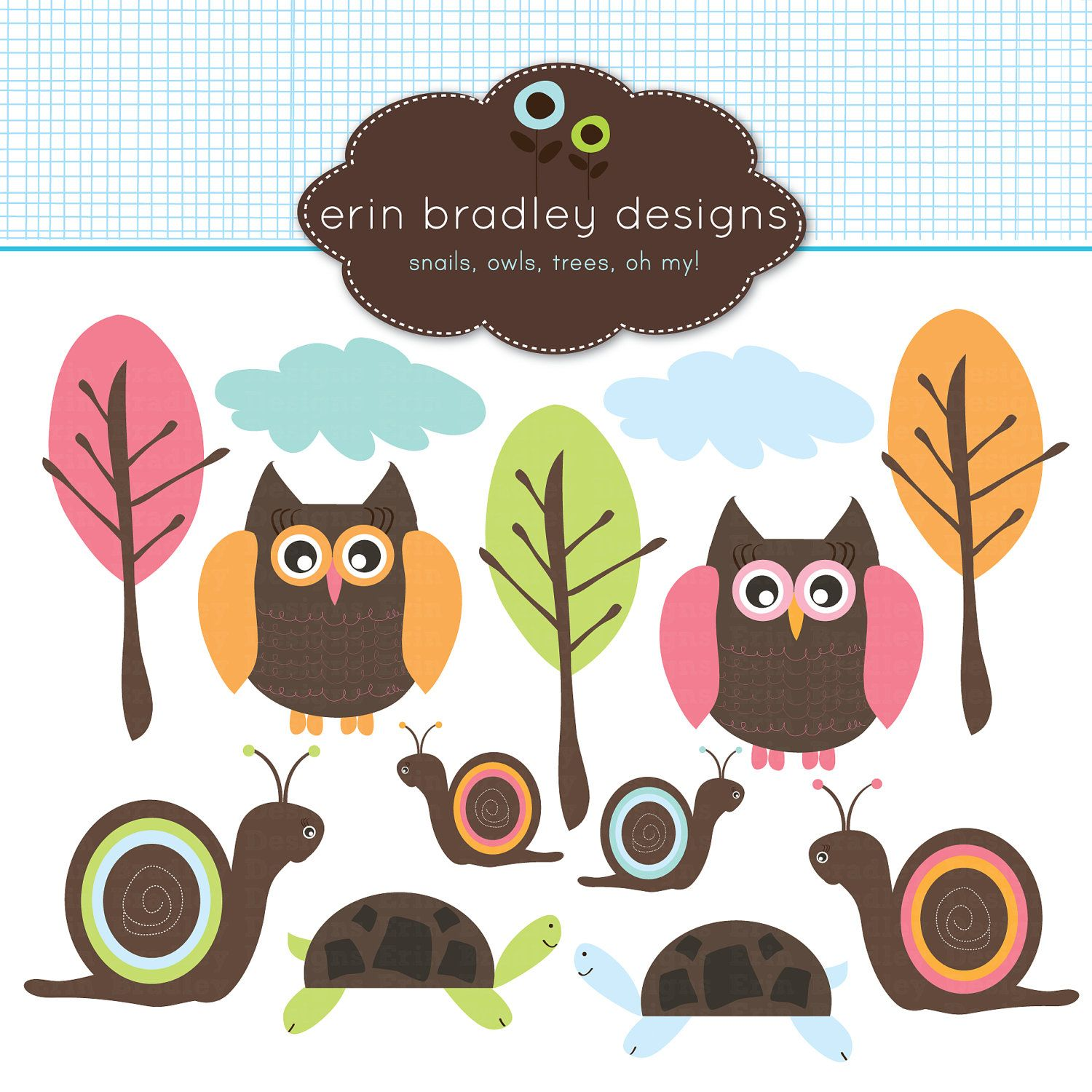 owl snail clipart clip art for personal and commercial use trees forest turtle and clouds 5 00 via etsy  [ 1500 x 1500 Pixel ]