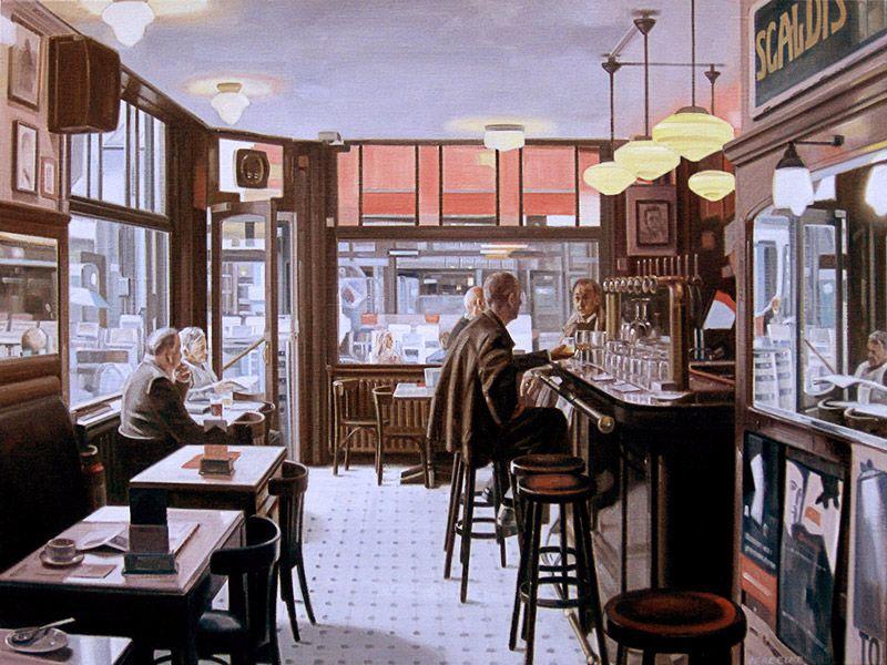 Schilderij #café-interieur - Paul Vereecke - Café Pelikaan in ...