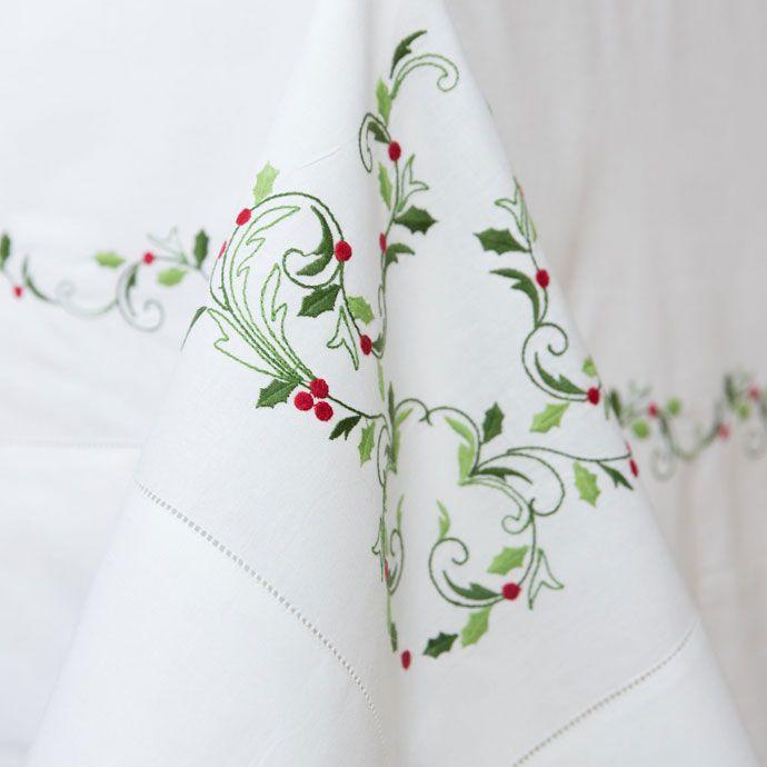 79\'99€ Mantel y servilletas lino y algodón bordado acebo - Mesa ...