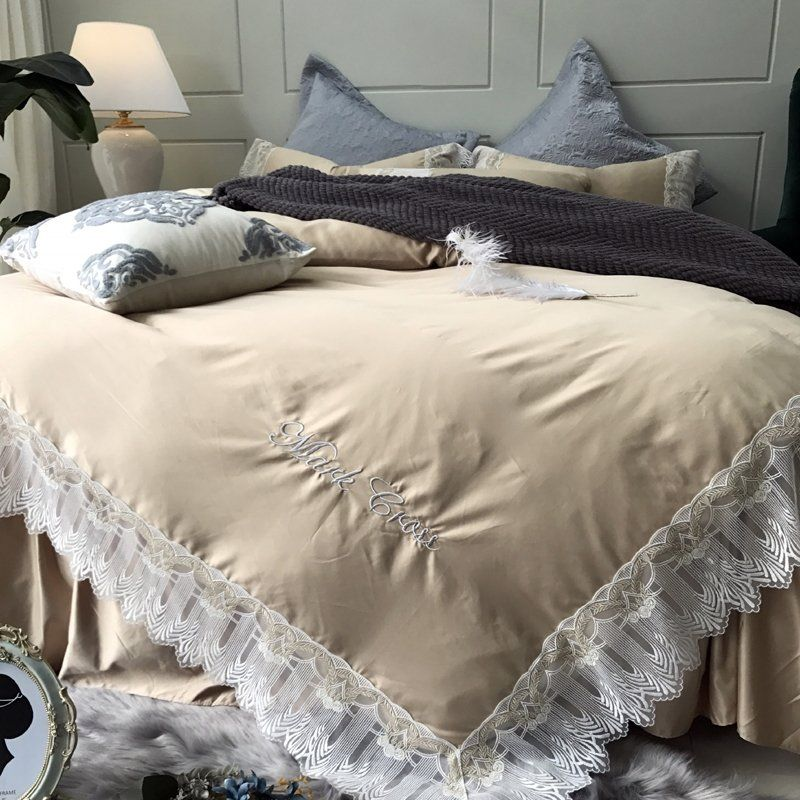 Simply Shabby Chic Champagne Gold And White Vintage Victorian Lace Romantic Elegant Feminine Fu Duvet Cover Master Bedroom Shabby Chic Room Shabby Chic Bedding