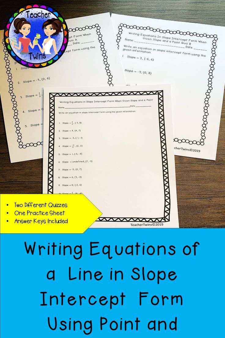 Equations in Slope Intercept Form Using Point and Slope