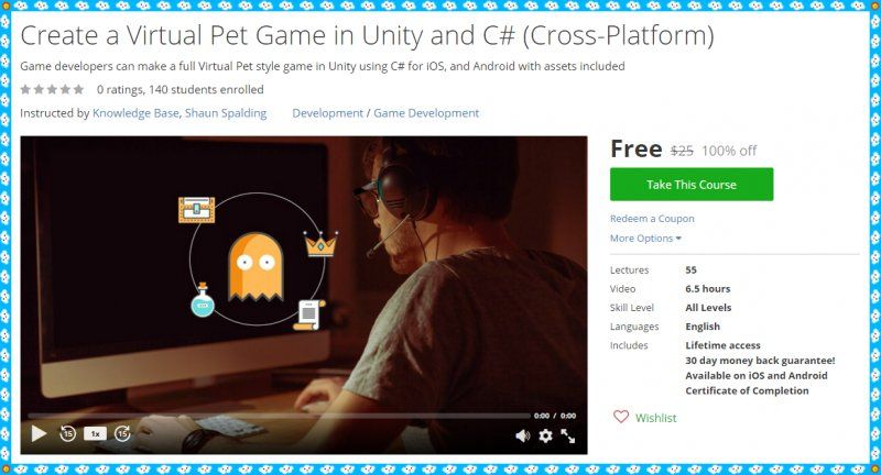 100% Free Udemy Coupon] Create a Virtual Pet Game in Unity