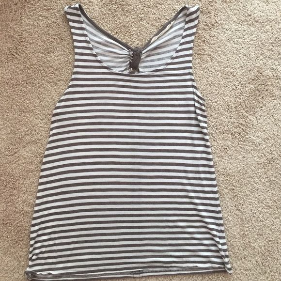 Striped tank White and gray striped tank with knot and little keyhole in the back. Very soft! Old Navy Tops Tank Tops