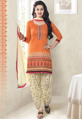 77fe58896e7f2 To look graceful on traditional occasions, this orange coloured dress  material from Touch Trends is