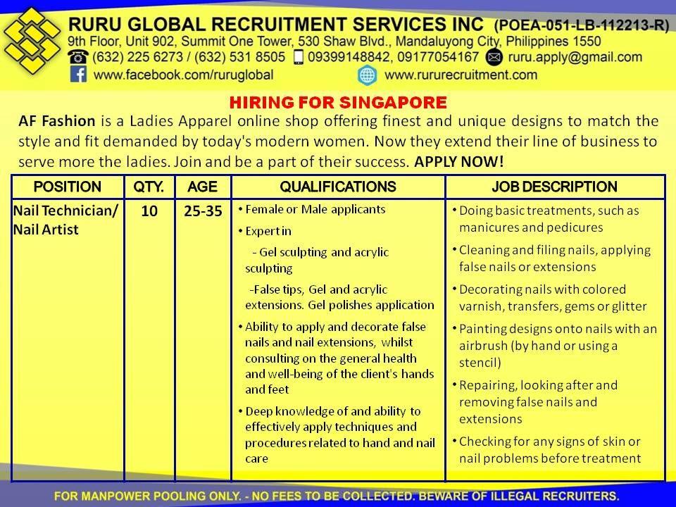 AF Fashion Singapore Hiring for Nail Technician/Nail