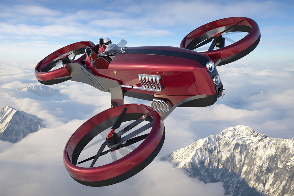 Inspired by the lines and proportions of Ferrari's 1950s Formula 1 racers, Lazzarini's Formula Drone One is a retro-future flying concept. It combines a trio...