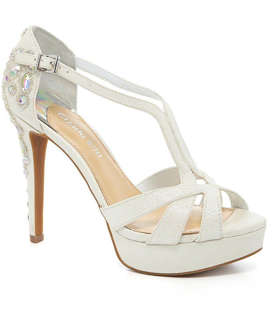 White:Gianni Bini Geneva Glitter Jeweled Dress Sandals | Dream Day ...