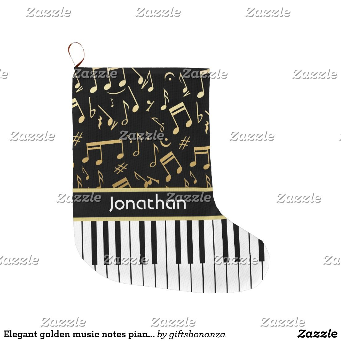 Elegant golden music notes piano keys small christmas