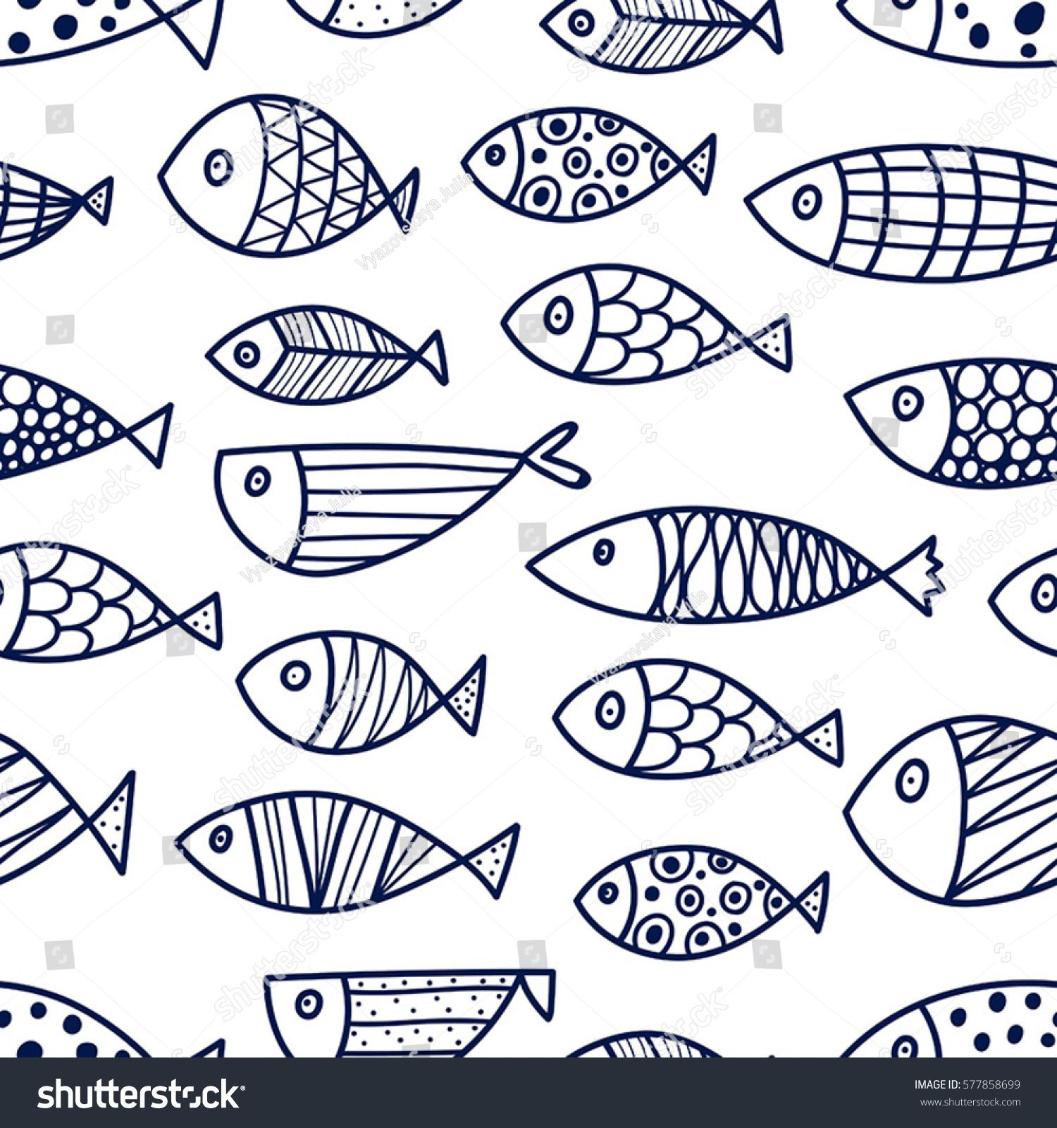 Blue Fish Vector Seamless Pattern Stock Vector (Royalty Free) 577858699