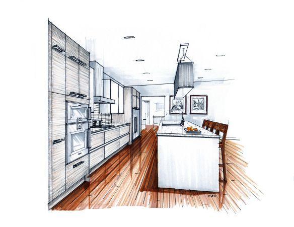 Hand Drawn Kitchen Perspective Rendering Sketchbook Room