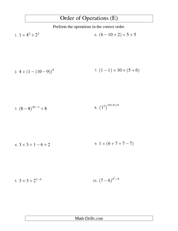 Order Of Operations Worksheet Integers Order Of Operations