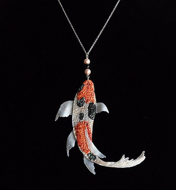 Koi pendant koi necklace koi fish pendant koi fish necklace gift for koi pendant iridescent orange black white koi by thependantgarden 3000 aloadofball Images