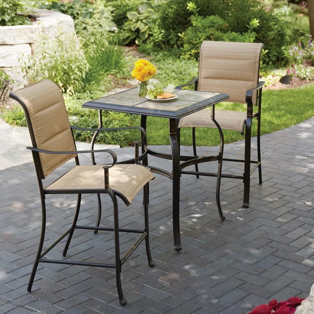 Hampton Bay Belleville 3 Piece Padded Sling Outdoor Bistro Set Fcs80208ahst The Home Depot
