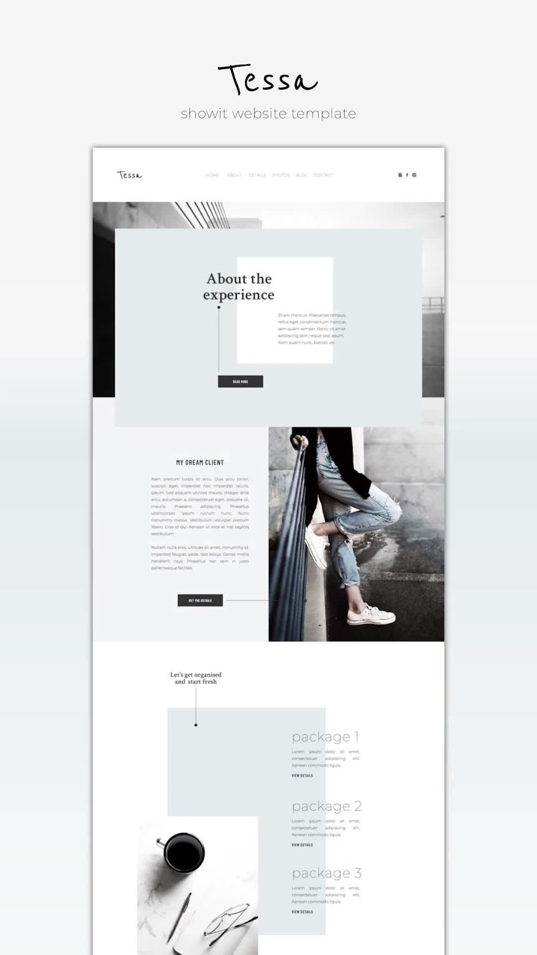 Showit website template design Tessa with shop layout for the professional creative minimalist