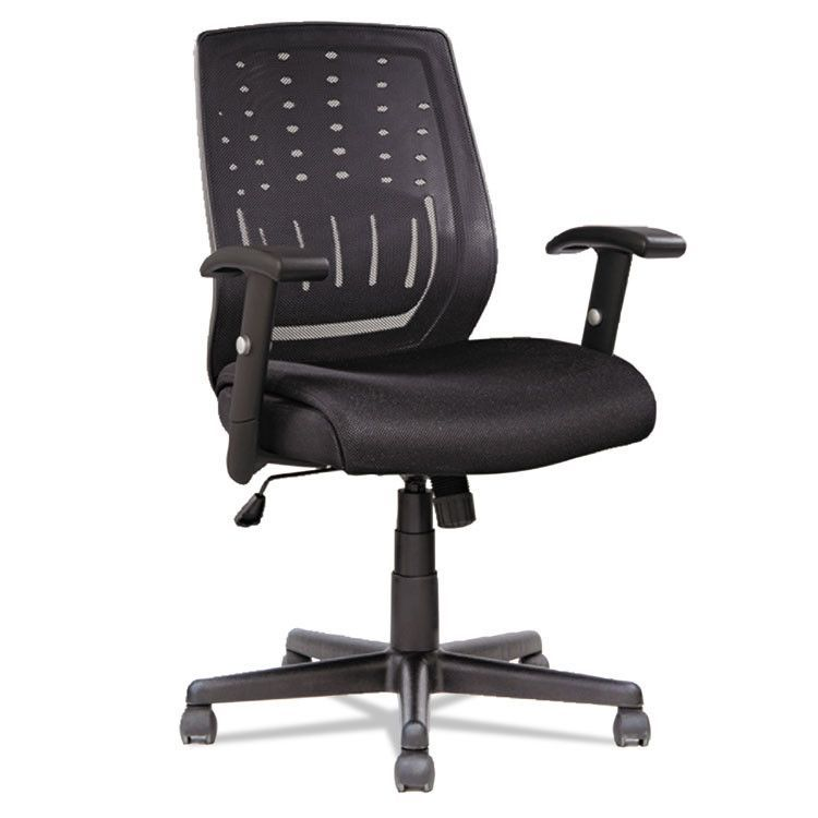 Manager's Synchro-Tilt Mesh Mid-Back Chair , Height Adjustable T-Bar Arms, Black